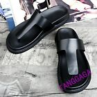 Fashion Summer Mens Casual Flip Flops Leather Flats Slipper Beach Sandal Shoes