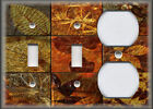 Metal Light Switch Plate Cover - Rustic Leaf Tiles Rust Brown Nature Home Decor