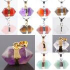Healing Chakra Gemstone Stone Hexagon Prism Pendant Charms Jewelry Agate Quartz