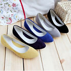 Womens Faux Suede Casual Low Heel Mary Jane Slip On Pointy Toe Sweet Court Shoes