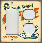 Metal Light Switch Plate Cover - Vintage Coffee Sign Decor Fresh Brewed Coffee
