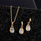 Women Crystal Pendant Silver/gold Plated Chain Necklace+stud Earring Jewelry Set