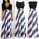 Women Summer Boho Long Maxi Striped Cocktail Party Beach Chiffon Casual Dress !