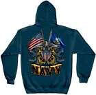 Navy Blue Hooded Sweatshirt with US Navy Double Flag and Shield Design