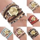 New Women's Leopard Wrap Braided Faux Leather Analog Quartz Bracelet Wrist Watch