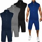 New Mens Gilet Sleeveless Hoodie & Shorts Jogging Bottom Fleece Gym Tracksuit