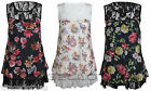 Women's Chiffon Lace 2 Panel Floral Flower Thigh Length Mini Skater Dress Top