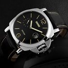 Fashion Men's Date Stainless Steel Leather Band Quartz Analog PAM Wrist Watch