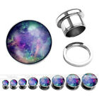 Pair 6G-5/8'' Stainless Steel Galaxy Starry Sky Ear Plugs Tunnels Expander Gauge