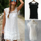 Chic Women Casual Lace Floral Dress Sleeveless Loose Party Mini Dress Black WW2
