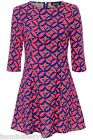 New Neon Floral Short Skater Paneled Celeb Style Bridal Party Crepe Dress