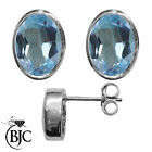 BJC® 9ct White Gold Natural Blue Topaz Oval Stud Earrings 3.00ct Studs