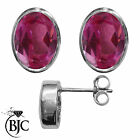 BJC® Sterling Silver 925 Natural Pink Topaz Oval Stud Earrings 3.00ct Studs
