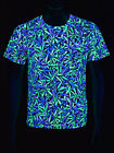 "Schwarzlicht Neon Classic T-Shirt ""Purple Haze Weed"" Goa Blacklight"
