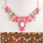 Fashion Lovely Candy Color Crystal Statement Bib Pendant Chain Choker Necklace