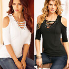 CHIC New Women Short Sleeve Off Shoulder Casual Blouse Loose Cotton Tops T Shirt