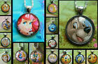 DISNEY PENDANT NECKLACE GLASS PRINCESSES ELSA ARIEL DUMBO TRAMP BELLE ROUND