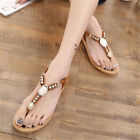 Bohemia Women Flats Strappy BOHO T-Strap Thong Sandals Beach Ankle Shoes Lady