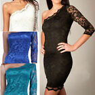 Womens Retro One-Shoulder Floral Mini Lace Party Cocktail Gowns Bodycon Dress