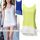 Fashion Womens Solid Chiffon Sleeveless Shirt Top Loose Vest Blouse S M L XL XXL