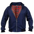 Mens Harrington Jacket Coat Retro Vintage Bomber Tartan Check Lined Two Tone New