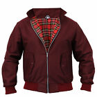 Mens Harrington Jacket Coat Retro Vintage Bomber Tartan Check Lined Casual New