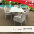 New Haven Rectangular Outdoor Patio Dining Table With 6 Chairs 2 for 1