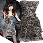 Women Strapless Leopard Pinted Sexy Mini Dress Casual Party Cocktail Dress New