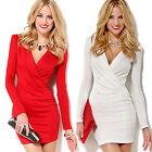 CH Sexy Women Summer Casual Long Sleeve Party Evening Cocktail Short Mini Dress