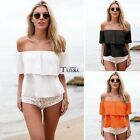 Women Sexy Summer Off Shoulder Chiffon Short Sleeve Party Slim Shirt Top TXCL