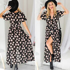 CH Women Summer Vintage Boho Long Maxi Party Beach Dress Floral Sundress Black