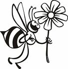 Cute Bee and Flower Sticker Car/Bike/Wall/Window *Colour & Size Choice*  (fs)