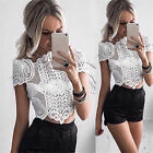 Tee White Lace Top T-shirt Women Tops Blouse Shirt Sexy Vintage Tank Tops