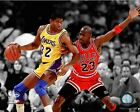Michael Jordan (Chicago Bulls) Magic Johnson (LA Lakers) NBA Action Photo RJ093