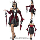 CL947 Womens Goth Venetian Harlequin Masquerade Jester Horror Halloween Costume