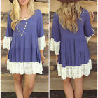 Fashion Womens Loose Short Sleeve Shirt Floral Tunic Tops Blouse Lace Mini Dress