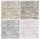 3d Slate Stone Brick Effect Wallpaper Washable Vinyl - Stone Sand Grey