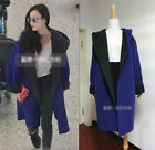 Fashion Womens Cashmere blended Coat Warm Hooded Loose Overcoat Long Jacket