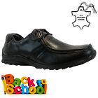 BOYS KIDS REAL LEATHER JUNIOR CASUAL BLACK LACE SCHOOL TRAINERS SHOES SIZE 1-7