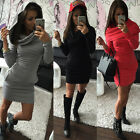 Fashion Womens Hoody Sweatshirt Long Sleeve Bodycon Ladies Hoodies Jumper Dress