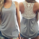 Fashion Womens Summer Lace Vest Top Sleeveless Casual Tank Blouse Tops T-Shirt B