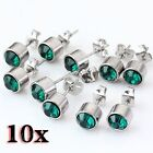 10pcs Fashion Green Crystal Stainless Steel Silvery Round Ear Stud Earring