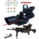 Tactical 2.5-10X40 Rifle Scope  Red Laser &Holographic Green  Red Dot Sight DTEG