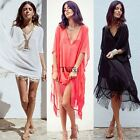 Sexy Women Bikini Cover Up Chiffon Short Sleeve Bikini Swimwear Beach Dress