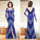 Ever Pretty Women's Sexy Blue V-neck Long Evening Party Formal Prom  Dress 08826