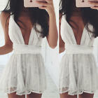UK Womens Ladies Sexy Floral Lace Hollow Out Bodycon Midi Peplum Dress Plus Size