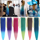 Fashion Long Straight Cosplay Ombre Colorful Ponytails Clip-in Hair Extensions