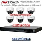 Hikvision 8ch PoE NVR,  with 6  1080p wide angle Dome IP camera kit CCTV System