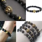Fashion Black Lava Rock Stone Beaded Bracelet Charm Helmet Bracelet  Gifts