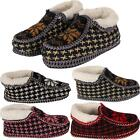 Womens Ladies Winter Fur Lined Fairisle Pattern Knitted Bootie Slippers Shoes Uk